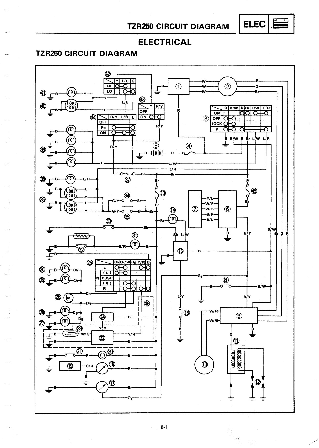 tzr v electrics rd500lc wiring diagram and legend